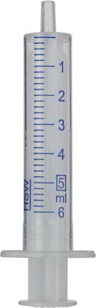 Disposable 5 mL syringes with Luer tip made of polypropylene
