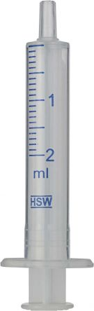 Disposable 2 mL syringes with Luer tip made of polypropylene